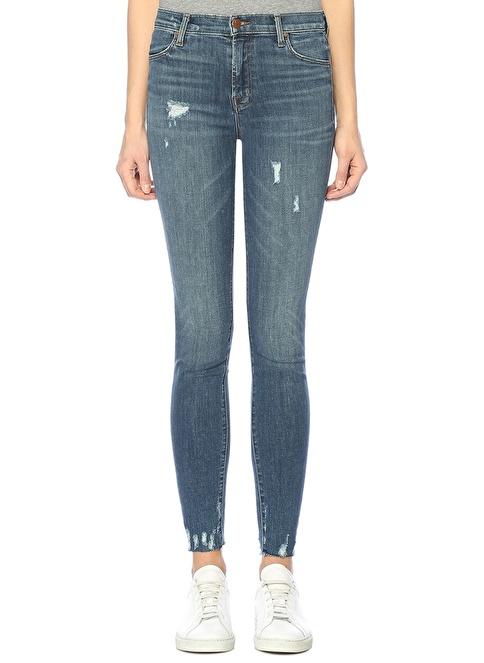 J Brand Yüksek Bel Dar Paça Jean Pantolon Mavi